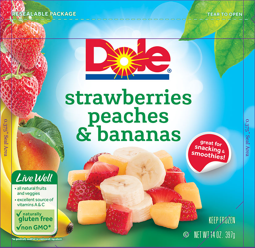 6086 Dole Strawberries Peaches Bananas Frozen 14oz 1-1